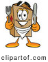 Cuisine Clipart of a Grinning Cardboard Box Mascot Cartoon Character Holding a Knife and Fork by Toons4Biz