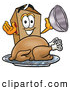 Cuisine Clipart of a Grinning Cardboard Box Mascot Cartoon Character Serving a Thanksgiving Turkey on a Platter by Toons4Biz