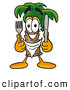 Cuisine Clipart of a Grinning Palm Tree Mascot Cartoon Character Holding a Knife and Fork by Toons4Biz
