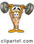 Cuisine Clipart of a Grinning Slice of Pizza Mascot Cartoon Character Holding a Heavy Barbell Above His Head by Toons4Biz