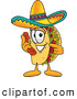 Cuisine Clipart of a Grinning Taco Mascot Cartoon Character Holding a Telephone by Toons4Biz