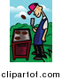 Cuisine Clipart of a Happy Man Flipping a Meat Patty over a Gas Grill by Mayawizard101