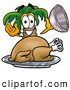 Cuisine Clipart of a Happy Palm Tree Mascot Cartoon Character Serving a Thanksgiving Turkey on a Platter by Toons4Biz