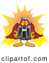 Cuisine Clipart of a Happy Pepper Shaker Mascot Cartoon Character Dressed As a Super Hero by Toons4Biz