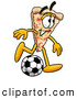 Cuisine Clipart of a Happy Slice of Pizza Mascot Cartoon Character Kicking a Soccer Ball by Toons4Biz