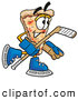 Cuisine Clipart of a Happy Slice of Pizza Mascot Cartoon Character Playing Ice Hockey by Toons4Biz