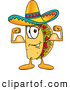 Cuisine Clipart of a Happy Taco Mascot Cartoon Character Flexing His Arm Muscles by Toons4Biz