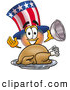 Cuisine Clipart of a Happy Uncle Sam Mascot Cartoon Character Serving a Thanksgiving Turkey on a Platter by Toons4Biz