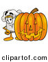Cuisine Clipart of a Happy White Chefs Hat Mascot Cartoon Character with a Carved Halloween Pumpkin by Toons4Biz