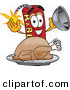 Cuisine Clipart of a Hungry and Happy Dynamite Mascot Cartoon Character with a Thanksgiving Turkey on a Platter by Toons4Biz
