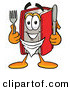 Cuisine Clipart of a Hungry Happy Red Book Mascot Cartoon Character Holding a Knife and Fork by Toons4Biz