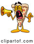 Cuisine Clipart of a Loud Slice of Pizza Mascot Cartoon Character Screaming into a Megaphone by Toons4Biz