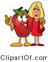 Cuisine Clipart of a Nutritious Red Apple Character Mascot Talking Nutrition with a Pretty Blond Woman by Toons4Biz