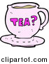 Cuisine Clipart of a Pink Tea Cup with Text by Lineartestpilot
