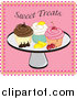 Cuisine Clipart of a Platter of Cupcakes, Fruit and Chocolate over Pink with Sweet Treats Text by Pams Clipart