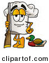 Cuisine Clipart of a Proud Chefs Hat Mascot Cartoon Character Duck Hunting, Standing with a Rifle and Duck by Toons4Biz