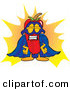 Cuisine Clipart of a Proud Chili Pepper Mascot Cartoon Character Dressed As a Super HeroProud Chili Pepper Mascot Cartoon Character Dressed As a Super Hero by Toons4Biz