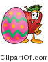 Cuisine Clipart of a Red Apple Character Mascot Standing Behind an Easter Egg by Toons4Biz