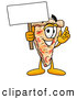 Cuisine Clipart of a Slice of Cheese Pizza Mascot Cartoon Character Holding a Blank Sign by Toons4Biz