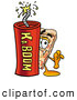 Cuisine Clipart of a Slice of Cheese Pizza Mascot Cartoon Character Standing with a Lit Stick of Dynamite by Toons4Biz