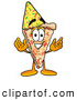 Cuisine Clipart of a Slice of Cheese Pizza Mascot Cartoon Character Wearing a Birthday Party Hat by Toons4Biz