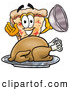 Cuisine Clipart of a Slice of Cheeze Pizza Mascot Cartoon Character Serving a Thanksgiving Turkey on a Platter by Toons4Biz