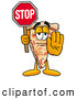 Cuisine Clipart of a Slice of Pizza Mascot Cartoon Character Holding a Stop Sign by Toons4Biz
