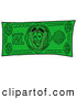 Cuisine Clipart of a Slice of Pizza Mascot Cartoon Character on a Cash Dollar Bill by Toons4Biz