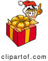Cuisine Clipart of a Slice of Pizza Mascot Cartoon Character Standing by a Wrapped Christmas Present by Toons4Biz
