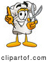 Cuisine Clipart of a Smiling Chefs Hat Mascot Cartoon Character Holding a Pair of Scissors by Toons4Biz