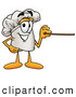 Cuisine Clipart of a Smiling Chefs Hat Mascot Cartoon Character Holding a Pointer Stick by Toons4Biz
