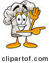 Cuisine Clipart of a Smiling Chefs Hat Mascot Cartoon Character Waving and Pointing by Toons4Biz