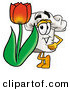 Cuisine Clipart of a Smiling Chefs Hat Mascot Cartoon Character with a Red Tulip Flower in the Spring by Toons4Biz