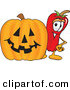 Cuisine Clipart of a Smiling Chili Pepper Mascot Cartoon Character Standing with a Carved Halloween Pumpkin by Toons4Biz