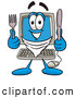 Cuisine Clipart of a Smiling Desktop Computer Mascot Cartoon Character Holding a Knife and Fork by Toons4Biz