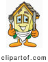 Cuisine Clipart of a Smiling House Mascot Cartoon Character Holding a Knife and Fork by Toons4Biz