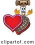 Cuisine Clipart of a Smiling Mallet Mascot Cartoon Character with an Open Box of Valentines Day Chocolate Candies by Toons4Biz