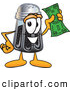 Cuisine Clipart of a Smiling Pepper Shaker Mascot Cartoon Character Holding a Dollar Bill by Toons4Biz