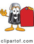 Cuisine Clipart of a Smiling Pepper Shaker Mascot Cartoon Character Holding a Red Sales Price Tag by Toons4Biz