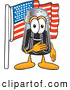 Cuisine Clipart of a Smiling Pepper Shaker Mascot Cartoon Character Pledging Allegiance to an American Flag by Toons4Biz