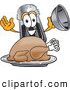 Cuisine Clipart of a Smiling Pepper Shaker Mascot Cartoon Character Serving a Thanksgiving Turkey on a Platter by Toons4Biz