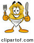 Cuisine Clipart of a Smiling Police Badge Mascot Cartoon Character Holding a Knife and Fork by Toons4Biz