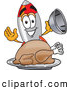 Cuisine Clipart of a Smiling Rocket Mascot Cartoon Character Serving a Thanksgiving Turkey on a Platter by Toons4Biz