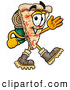 Cuisine Clipart of a Smiling Slice of Pizza Mascot Cartoon Character Hiking and Carrying a Backpack by Toons4Biz