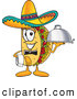 Cuisine Clipart of a Smiling Taco Mascot Cartoon Character Dressed As a Waiter and Holding a Serving Platter by Toons4Biz