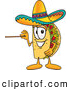 Cuisine Clipart of a Smiling Taco Mascot Cartoon Character Holding a Pointer Stick by Toons4Biz