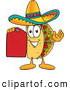 Cuisine Clipart of a Smiling Taco Mascot Cartoon Character Holding a Red Sales Price Tag by Toons4Biz