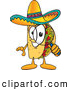 Cuisine Clipart of a Smiling Taco Mascot Cartoon Character Looking Through a Magnifying Glass by Toons4Biz