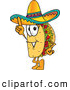 Cuisine Clipart of a Smiling Taco Mascot Cartoon Character Pointing Upwards by Toons4Biz