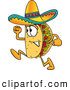 Cuisine Clipart of a Smiling Taco Mascot Cartoon Character Running by Toons4Biz